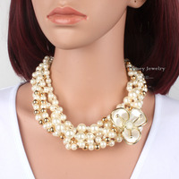 Simulated Pearl and Glass Three-Row Necklace With Extender