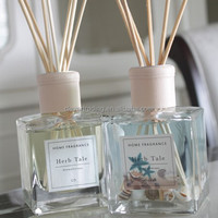 square 120ml clear glass fragrance bottle with stick