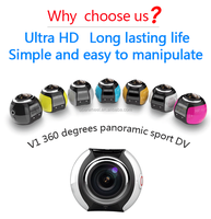 newest WIFI action 360 degree panorama camera 220 fish-eye lens View angle Sports Camera 360 with waterproof case
