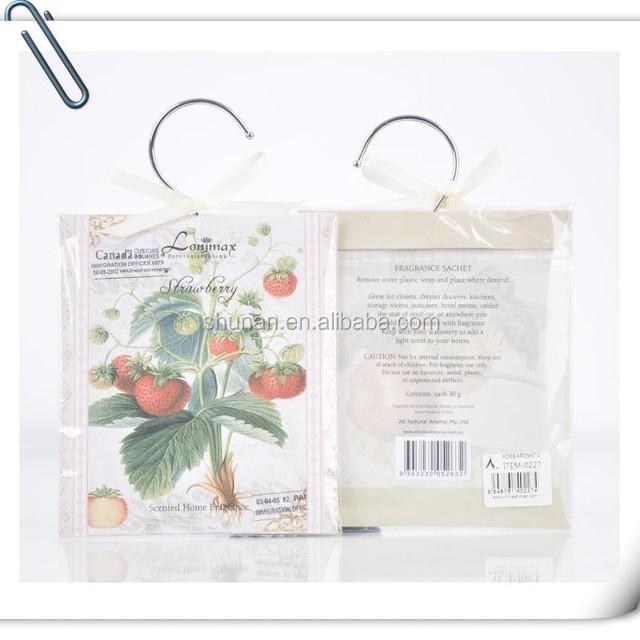 Hot sale hanging paper iron hook wardrobe fragrance sachet SA-0227