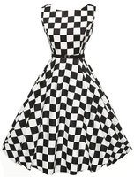 Onen Apparel Short Halter Cotton Audrey Hepburn Vintage Retro 50s Pinup Swing Plaid Party Dress
