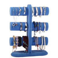 Blue velvet 3 tier T-bar jewelry display stand