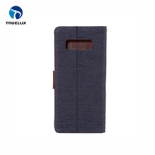 Wholesale New Arrival Denim Cloth Leather Flip Cover Stander Case For Samsung Galaxy Note 8