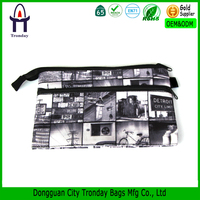 Heat transfer printing sublimation digital printing canvas pencil pouch two pockets pencil case