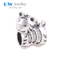 Wholesale Silver Jewelry Unique Design 925 Sterling Silver Chinese Zodiac Tiger Beads