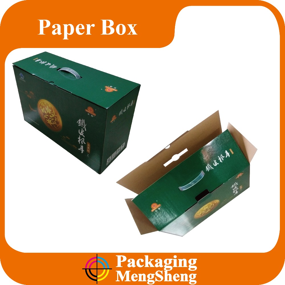 Wholesale Fancy plastic handles corrugated box with handle