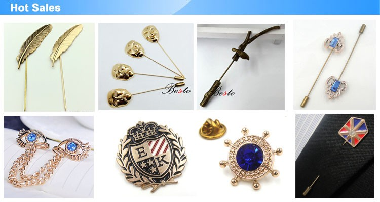Factory custom men's suit metal lapel pins wholesale