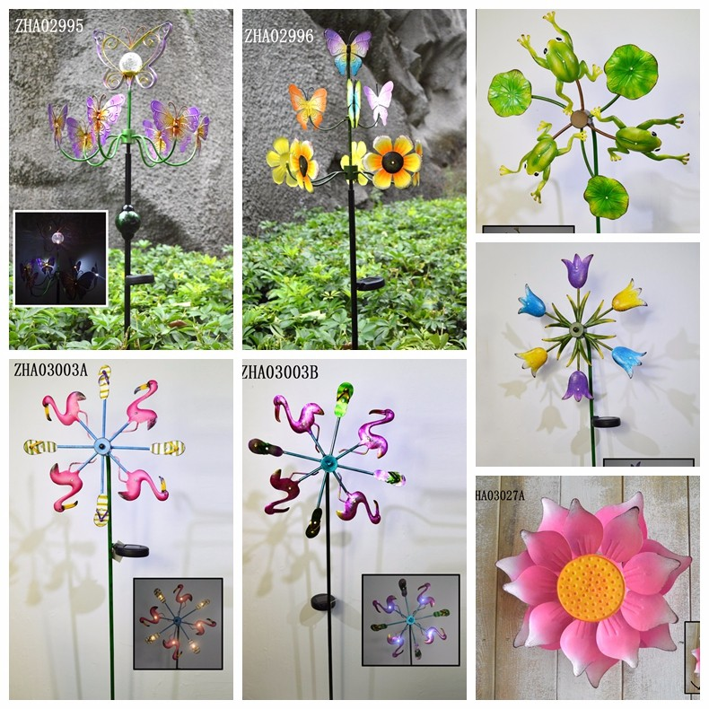 Hot Sales Garden windmill with solar light Solar Power Metal Wind Spinner Garden Decor