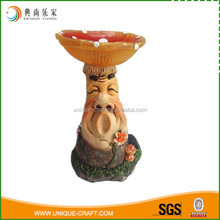 Polyresin mushroom smile face with solar light for garden decoration