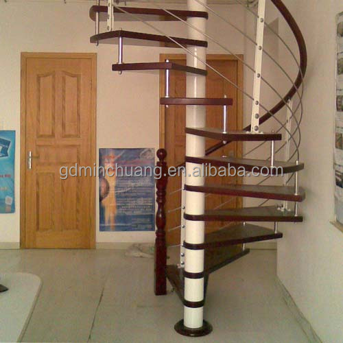 Attic stainless steel glass timber treads spiral stairs
