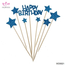 8pcs a Set Happy Birthday Star Cake Topper Wholesale