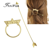 Fashion Hair Jewelry Gold Silver Bronze Color Triangle Geometric Circle Arrow Hair Sticks Hairwear