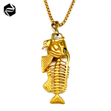Customized Stainless Steel China Factory OEM Mens Big Heavy Antique Fish Bone Shape Pendant Wholesale