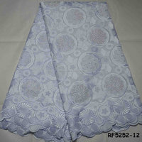 Latest design Nigerian wedding white cotton lace fabric African dry swiss voile fabrics with stones RF5252-12