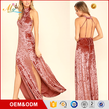 Alibaba hot selling Customized design high-end style woman Sexy Bodycon Velvet long Dress