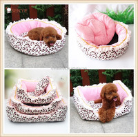 Warm plush leopard print Dog Bed with lace Luxury dog pet bed with Removable Washable Cover for Winter princess dog bed