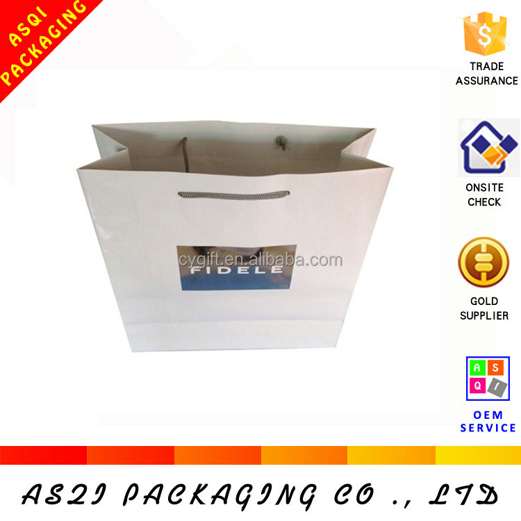 white paper glossy laminated clothing packaging apparel bag with custom logo apparel bag