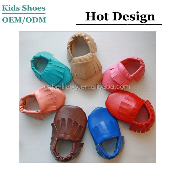 Super-soft handmade beautiful deerskin leather baby moccasins manufacturer in China leather sole baby shoes