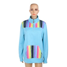 Wholesale New Turquoise Serape Zipper Pullover