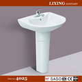 Corner bathroom pedestal basin