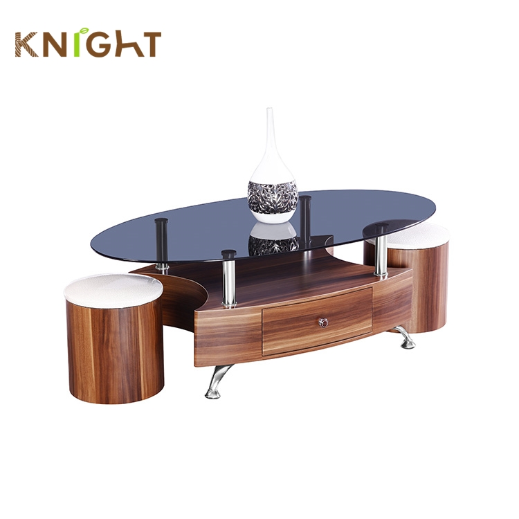 Hot sale living room furniture black and white glass top mdf support modern coffee table and chair set