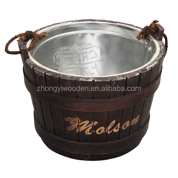 china factory FSC&ISO9001 rustic pine wooden metal beer beverage Ice bucket with metal pail insert