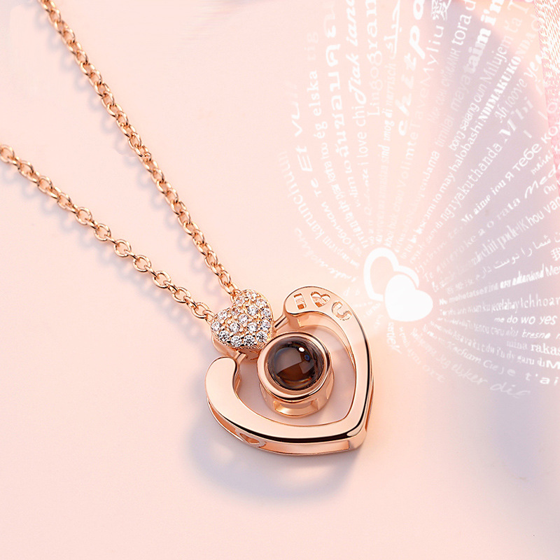 <strong>100</strong> Languages I Love You Festival Girl's Gift 925 Silver Memory of Love Gold Heart Shape Fashion Necklace