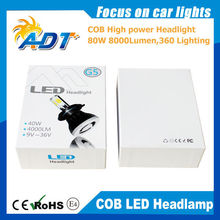 DC9V-36V 80W 8000LM COB LED Car Headlight Kit, H7 Auto CR.EE LED Headlamp Kit Lamp Bulbs Light All In One