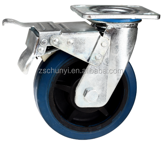 Heavy Duty Elastic Rubber Caster With Total Brake