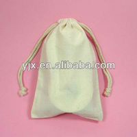 100% Small Cotton Linen Drawstring Bag