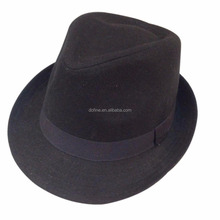 Black wool felt fedora hat