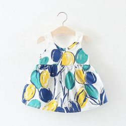 S62762B 2018 hot sale Summer girls casual dress printed girl spaghetti strap dresses