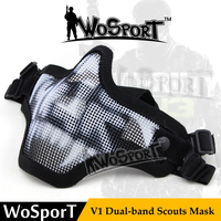 WoSporT Outdoor CS Game Half Lower Face Steel Mesh Mask Mask Hunting Tactical Protective Airsoft Mask (Camouflage Color )