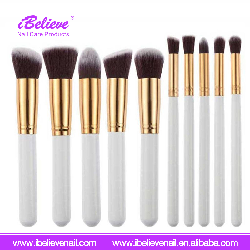 High Quality 10pcs Wood Handle Shaving Facial Private label 2017 Makeup Brush