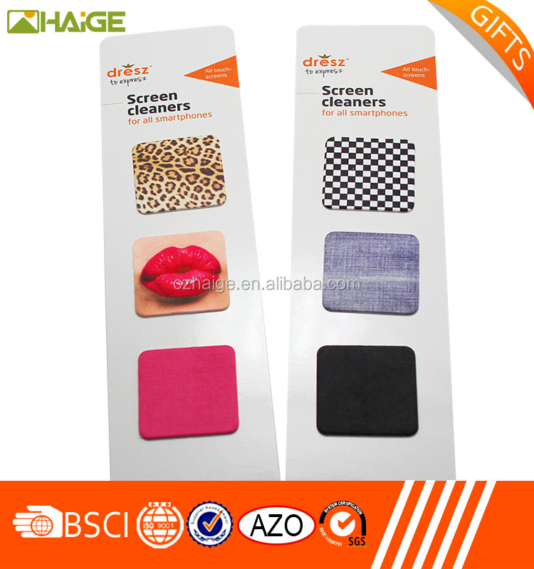 Wholesale Customized Eco-friendly Microfiber Adhesive Mobile Phone Screen cleaner sticker