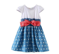 Summer pretty girl dress organic cotton short sleeve dress casual red bow dots design for girl baby princess dress
