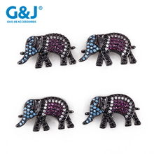 Guojie brand factory elephant micro pave cubic zircon gold doll necklace pendant