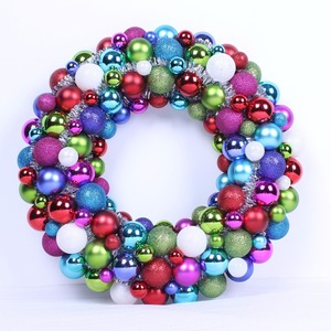 40cm Colorful Christmas Ball Wreath With Tinsel