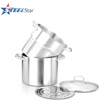 4PCS Stainless Steel Pasta Pot with strainer and basket 4QT 5QT 6QT 8QT 10QT 12QT