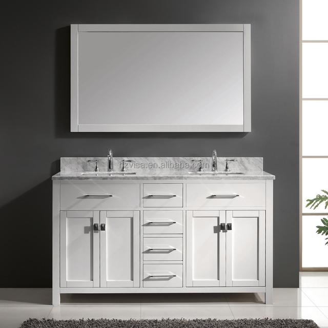 2017 2 Sink Basin Modern Bathroom Vanity Solid Wood Bathroom Cabinet