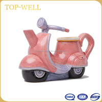 Bike shape small kid ceramic teapot home decoration ceramic toy teapot made in china wholesale