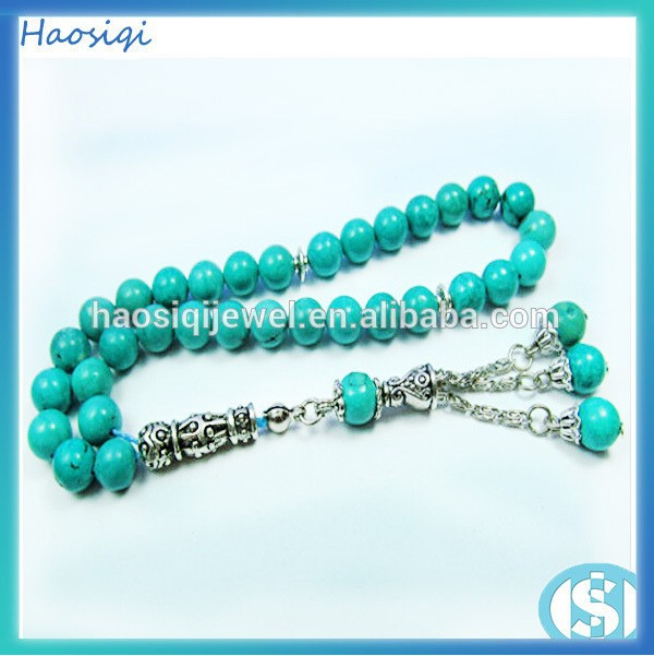 wholesale 2015 hot sale jewelry turquoise bead necklace Muslim prayer bead