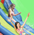 Happy Hop 2014 New Design Inflatable Water Slide and Pool with Cannon-9129 Hot Summer Double Water Slide