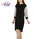 New designs winter casual sweater long wave point sleeve lady elegant knit mini dress