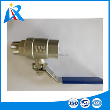 2 piece type one side male another female screw connection stainless steel ball valve