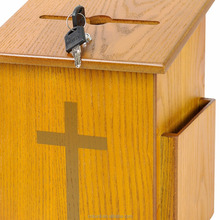 high quality Wooden Church Offering Donation Box with pine wood box