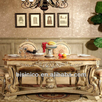 Luxury European style hand carved solid wood marble dining table