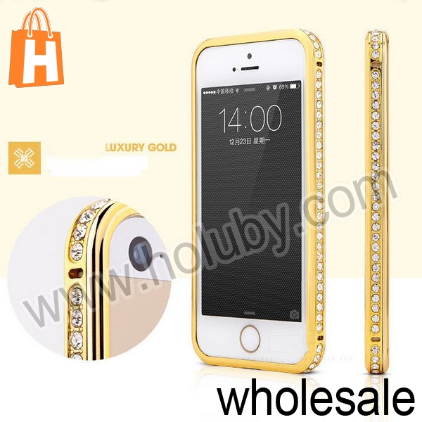 Sparkling Aluminum Bumper Case for iPhone 4S 4,Rhinestone Inlaid Style Electroplated Diamond Bumper Case for iPhone 4s 4