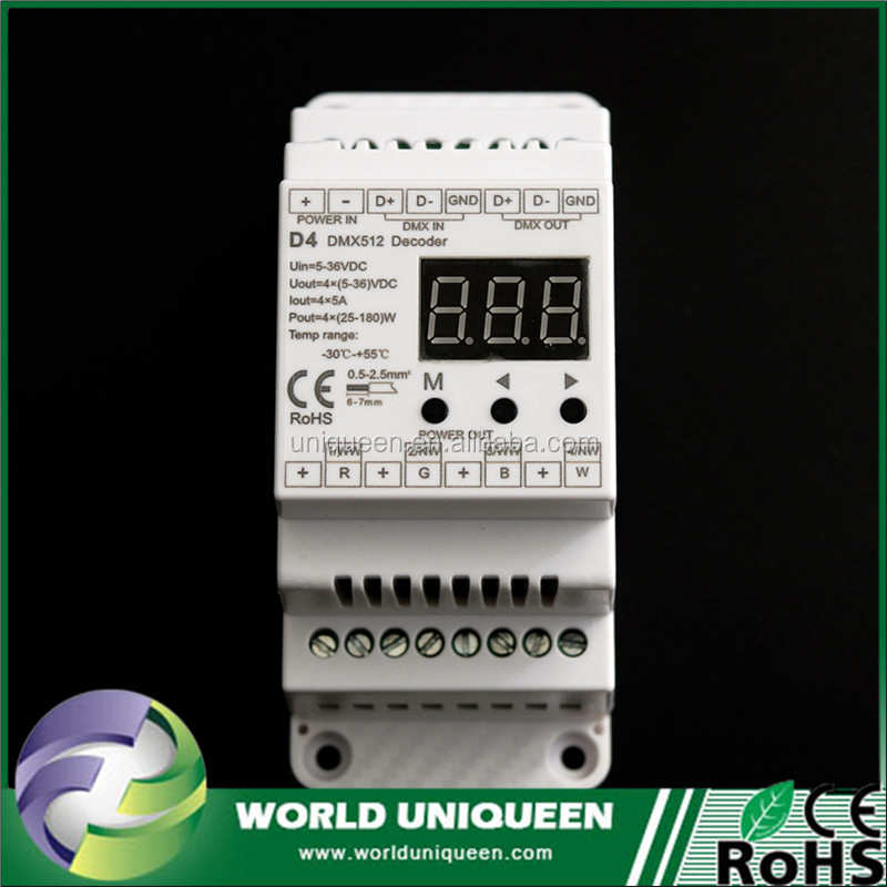 World Uniqueen CE RoHS Passed DMX 512 RGB Led Controller Constant Voltage 4A*4CH DMX512 Decoder For Setting DMX Address