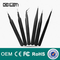 DELE Anti-Magnetic Anti-Acid Personalized Precision With Tip Point Stainless Steel Tweezers for mobile repair tools